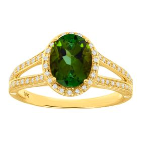 1 3/4 ct Green Tourmaline & 1/5 ct Diamond Ring
