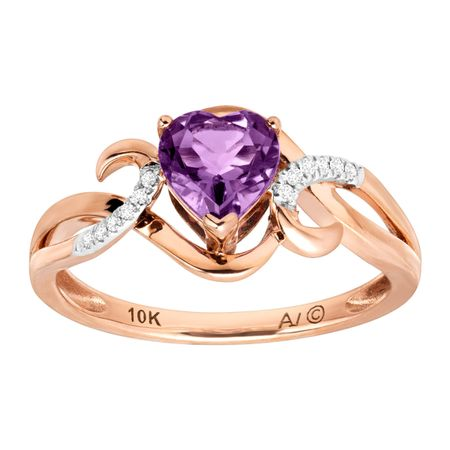 5/8 ct Heart-Cut Amethyst Ring with Diamonds