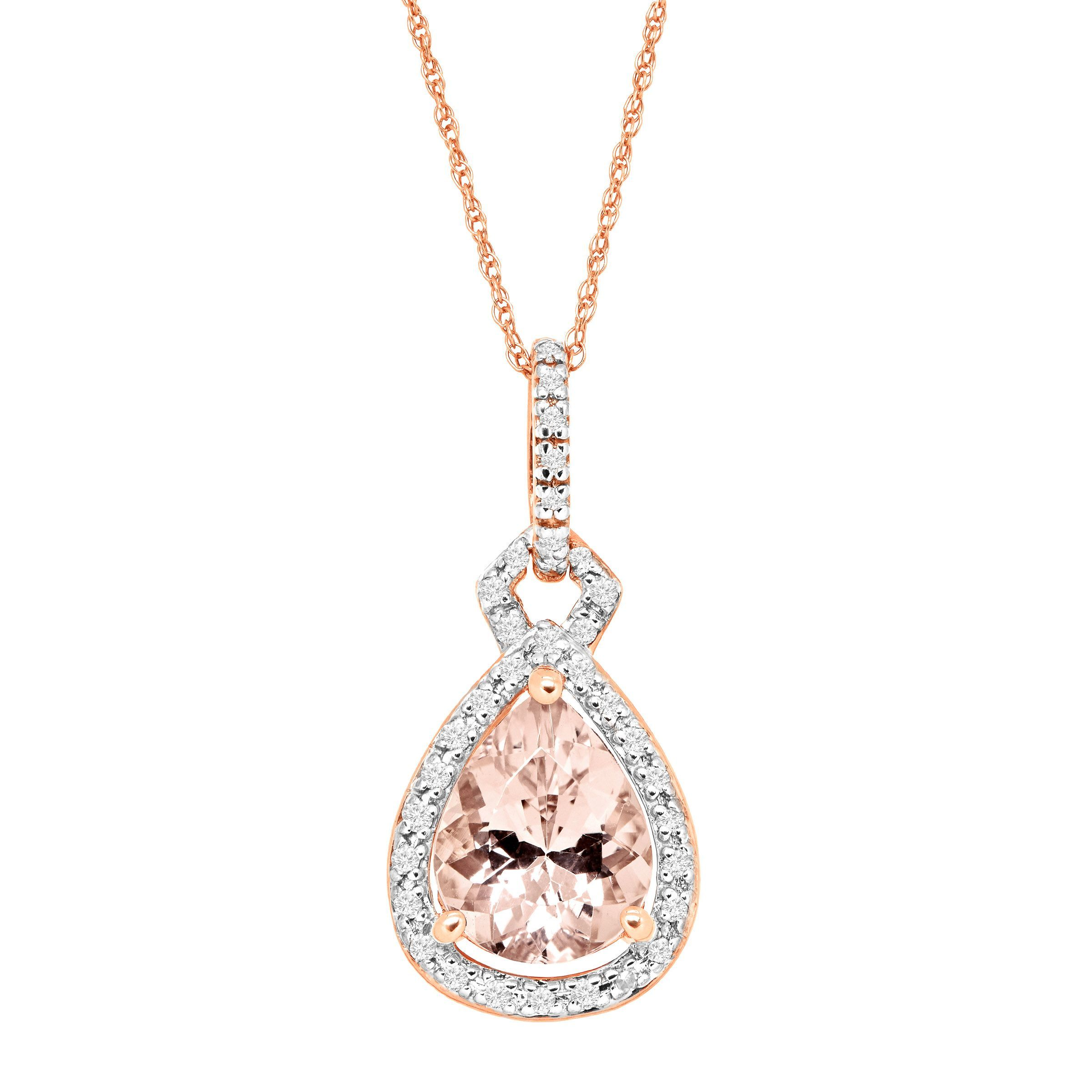 gold rose diamond contemporary in cushion necklace morganite pendant cut img