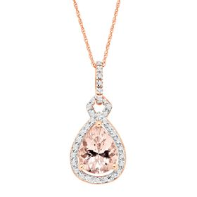 2 ct Morganite & 1/6 ct Diamond Pear Drop Pendant