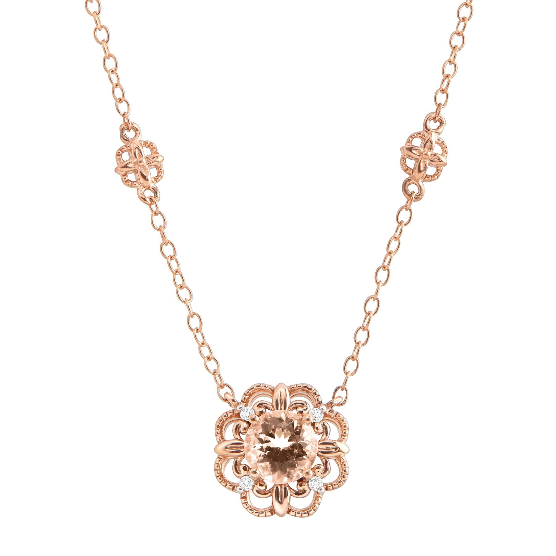 gold morganite rose pendant in diamond p oval v and necklace accent