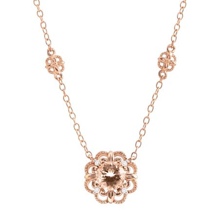 34 ct natural morganite flower necklace with diamonds in 10k rose 34 ct morganite flower necklace with diamonds aloadofball Gallery
