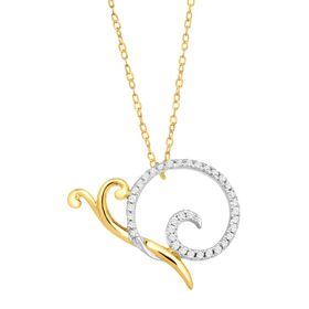 1/10 ct Diamond Snail Necklace