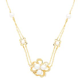 Pearl & 1/5 ct Diamond Floral Station Pendant