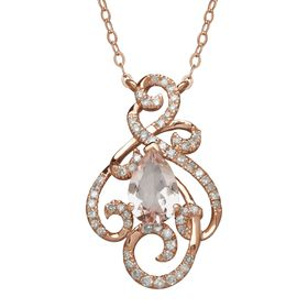 1 1/10 ct Morganite & 1/5 ct Diamond Swirl Necklace