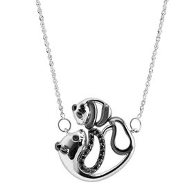 Mother & Baby Panda Necklace with Black Diamonds