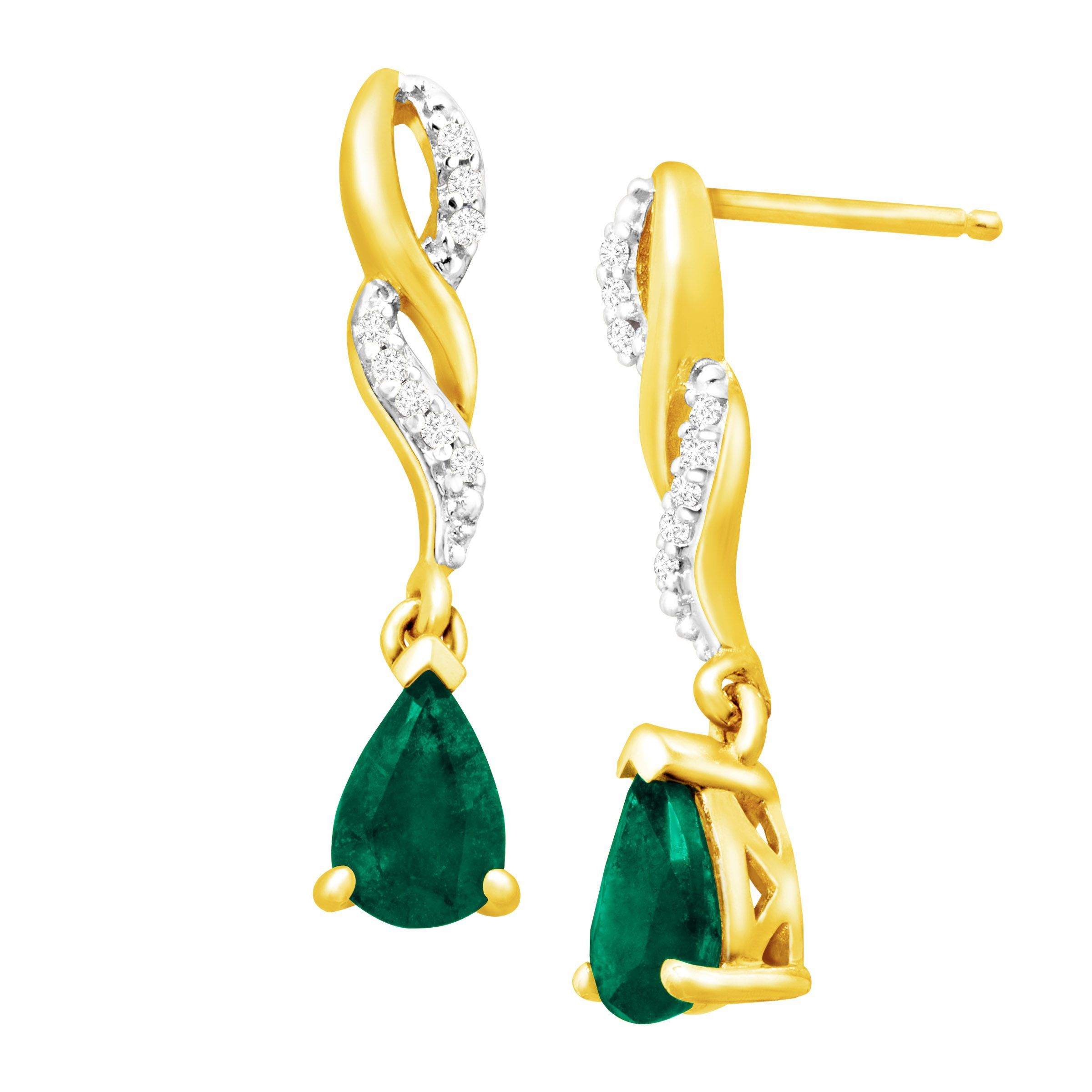 natural jewelry diamonds tone with silver two and gold ct emerald earrings drop sterling in