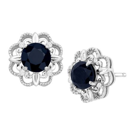 1 1/3 ct Kanchanaburi Sapphire Stud Earrings with Diamonds