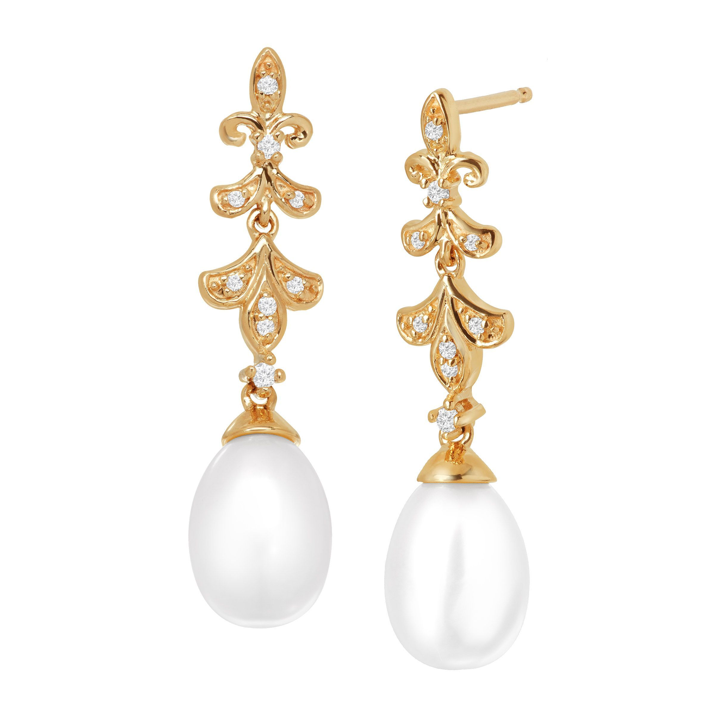 Fleur-De-Lis Freshwater Pearl Drop Earrings with Diamonds in 10K Gold Add these elegant and classic pearl drops to your collection! 9x7 mm freshwater elongated pearls suspend from a Fleur-de-Lis-like design, decorated with round-cut diamond accents and crafted in 10K gold. Pieces measure 1 1/8 by 1/4 inches.