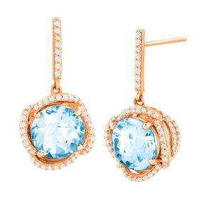 4 3/4 ct Blue Topaz & 1/3 ct Diamond Drop Earrings
