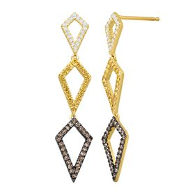 1/2 ct Brown, Yellow and White Diamond Geo Earrings