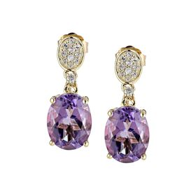 3 1/5 ct Amethyst and 1/10 ct Diamond Drop Earrings