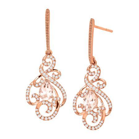 82bffad2a 3/4 ct Natural Morganite & 1/3 ct Diamond Swirl Drop Earrings in 10K ...