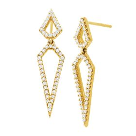 1/3 ct Geometric Diamond Drop Earrings