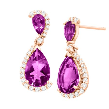 2 1/2 ct Amethyst & 1/5 ct Diamond Drop Earrings