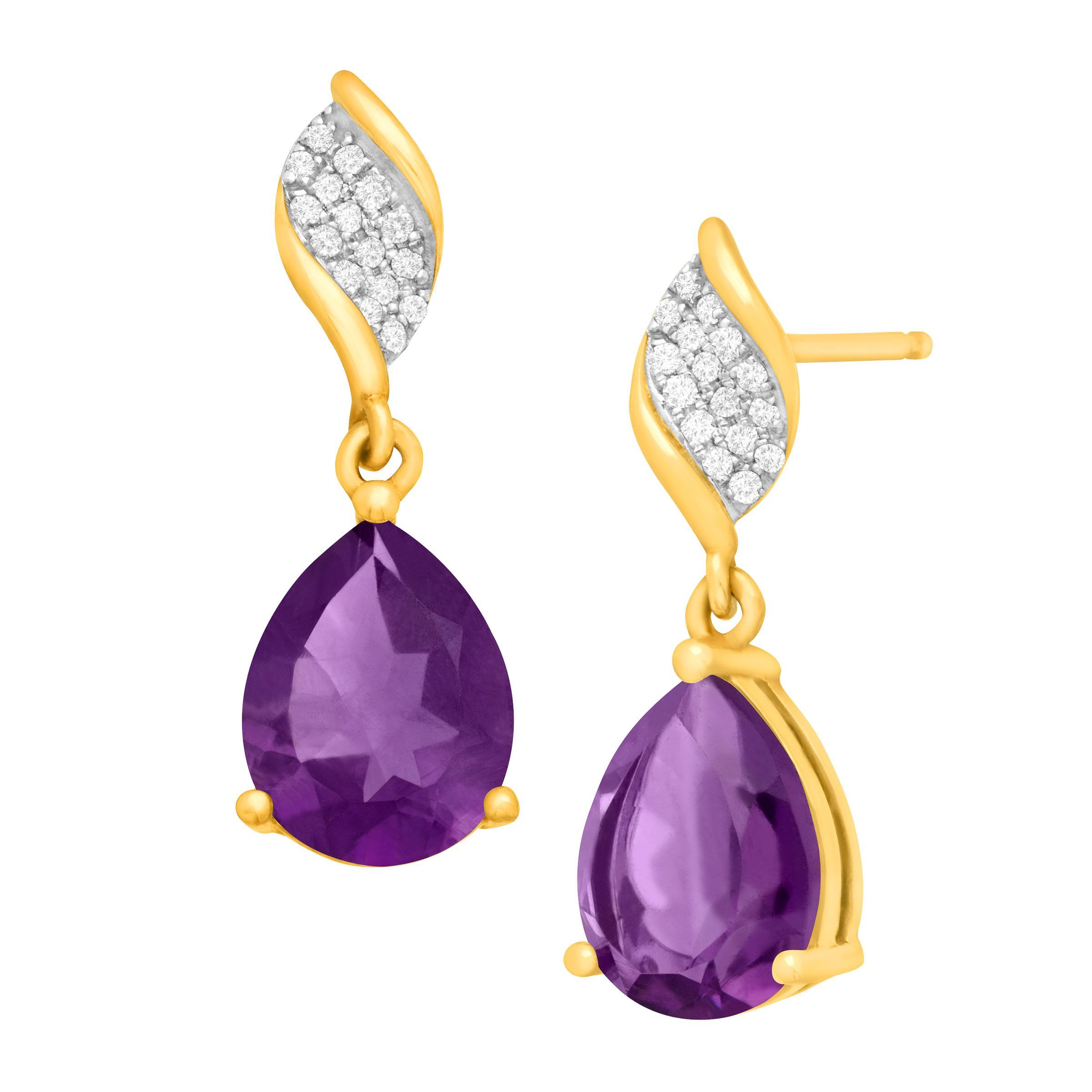 d23af6c1c Details about 3 1/8 ct Pear-Cut Natural Amethyst Drop Earrings with Diamonds  10k Yellow Gold