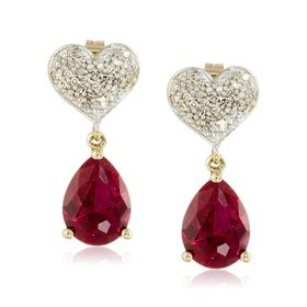 Ruby & 1/8 ct Diamond Heart Teardrop Earrings