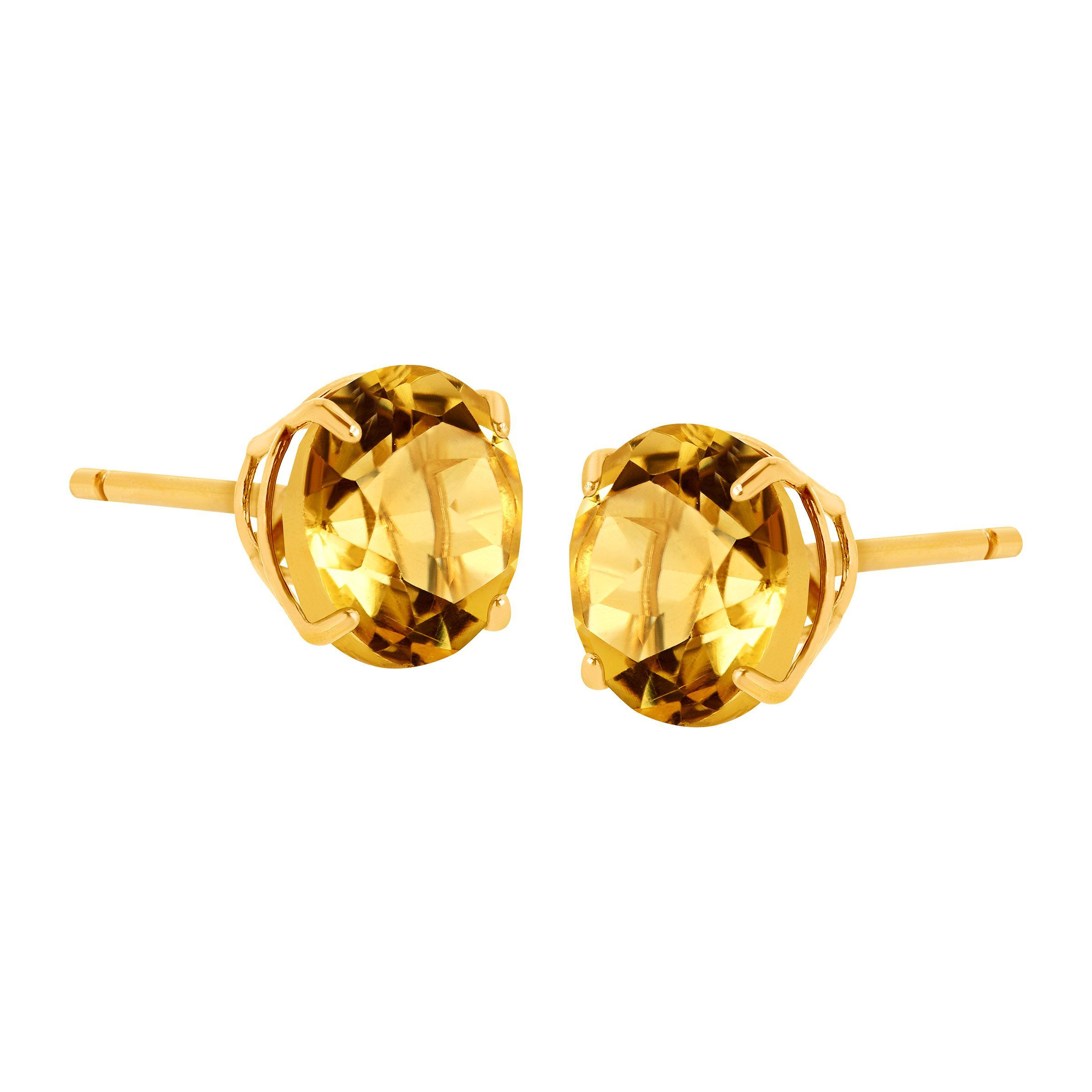 Details About 1 3 8 Ct Natural Citrine Round Cut Stud Earrings In 10k Gold