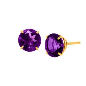 1 1/2 ct Amethyst Round-Cut Stud Earrings