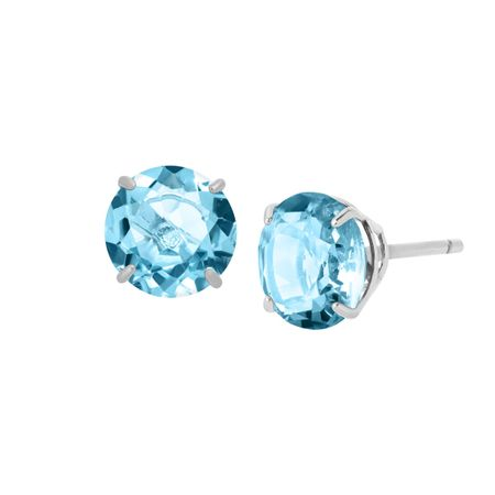 2 ct Swiss Blue Topaz Round-Cut Stud Earrings