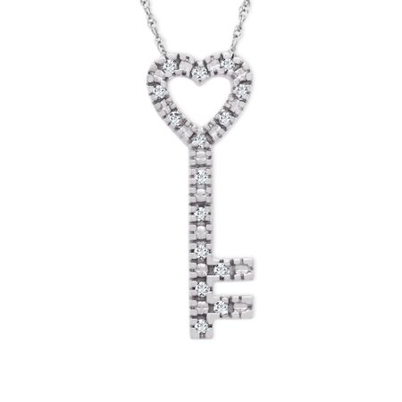 18 ct diamond heart key pendant in 10k white gold 18 ct diamond 18 ct diamond heart key pendant aloadofball Image collections