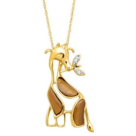 5/8 ct Tiger's Eye Giraffe Pendant with Diamonds