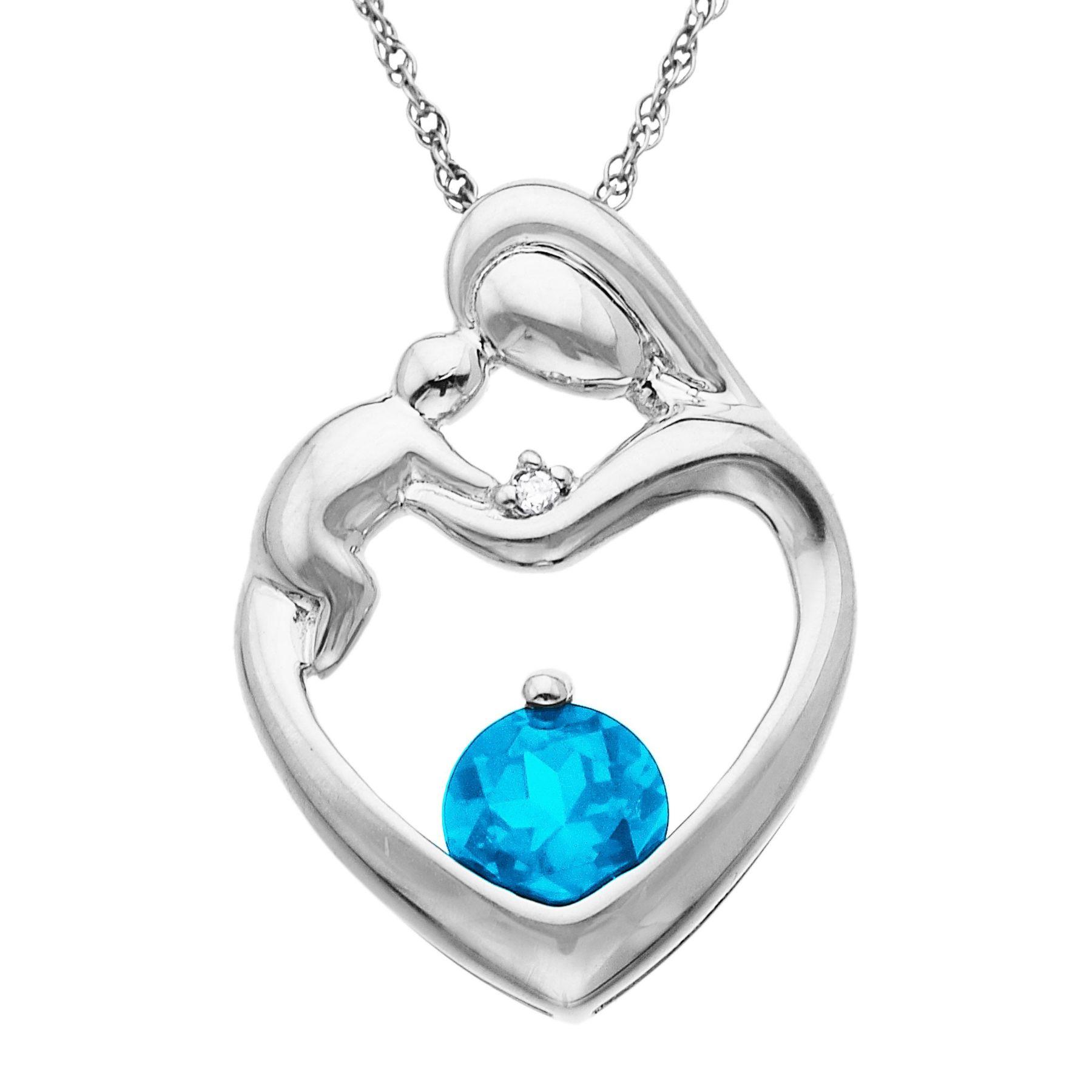 Finecraft 5/8 ct Blue Topaz Mother's Jewel Pendant with Diamond