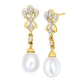 Pearl Baroque Drop Earrings with Diamonds