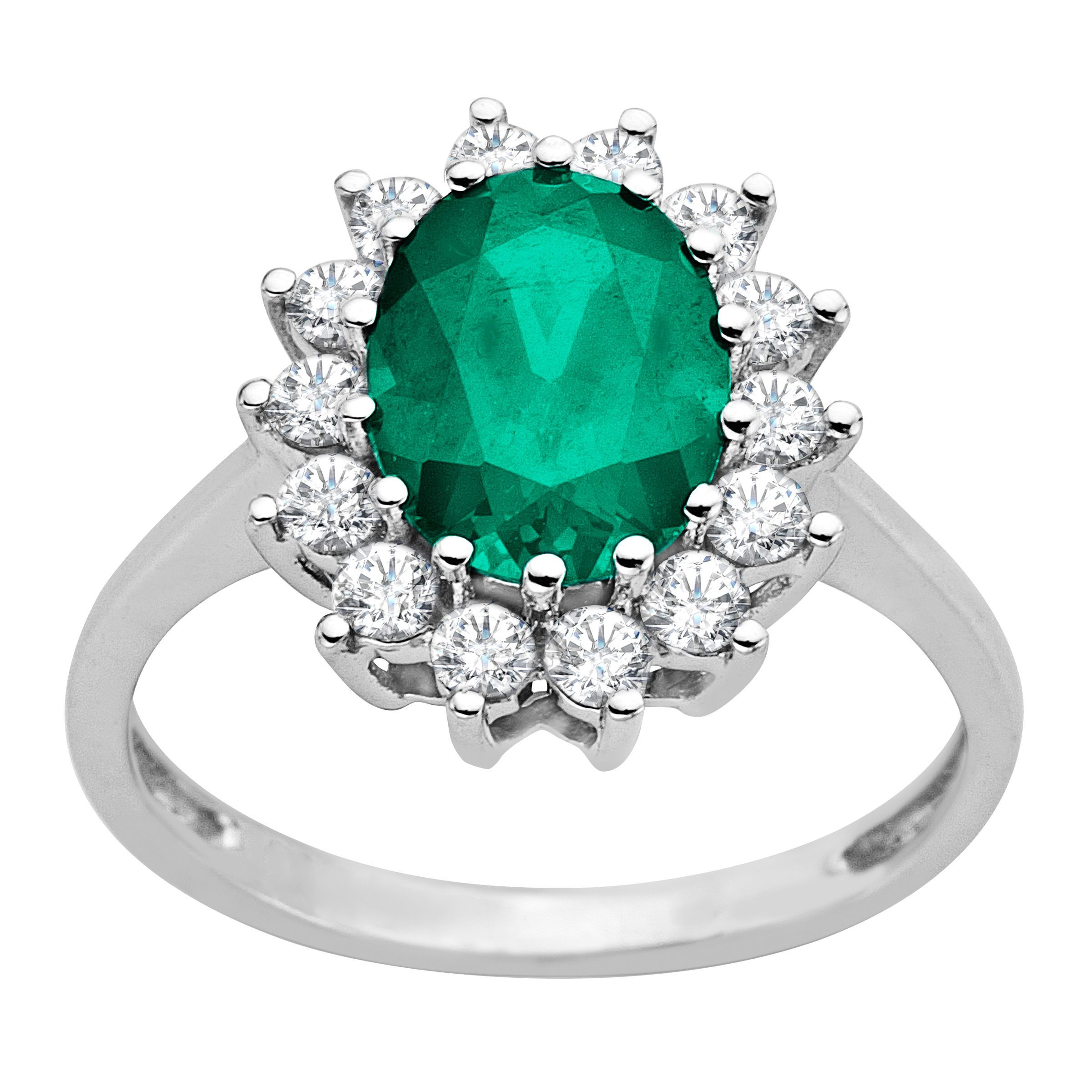 2 1 6 ct created emerald and white sapphire ring in 10k. Black Bedroom Furniture Sets. Home Design Ideas