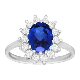 3 1/6 ct Blue & White Sapphire Ring