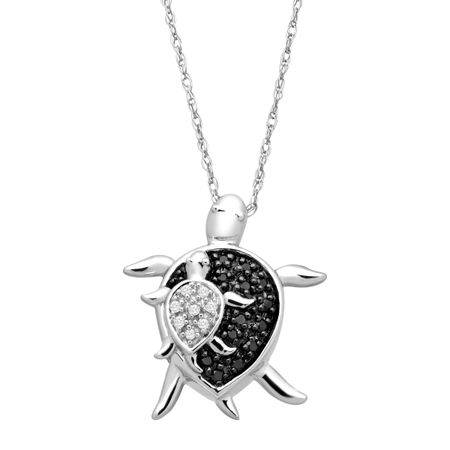 Mother & Baby Turtle Pendant with Black & White Diamonds