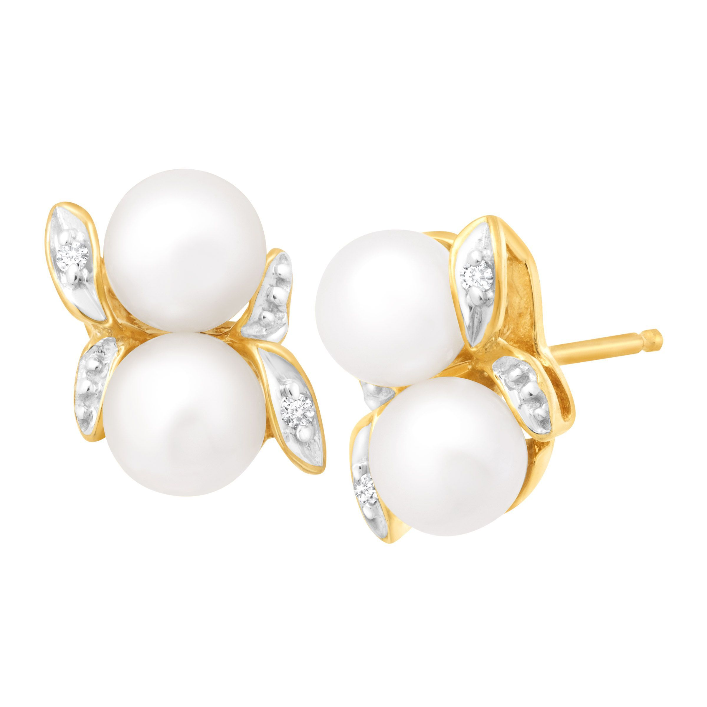 e7afbb52f Freshwater Pearl Bud Stud Earrings with Diamonds in 10K Gold ...