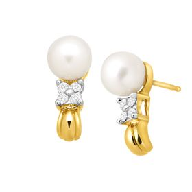 6 mm Pearl & 1/10 ct Diamond 'J' Earrings