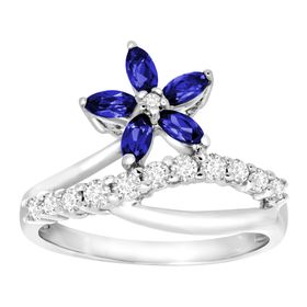 1 ct Blue & White Sapphire Flower Ring