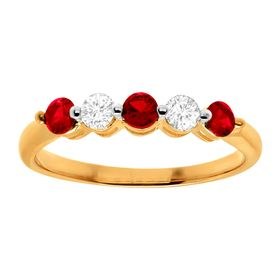 3/4 ct Ruby & White Sapphire Band Ring