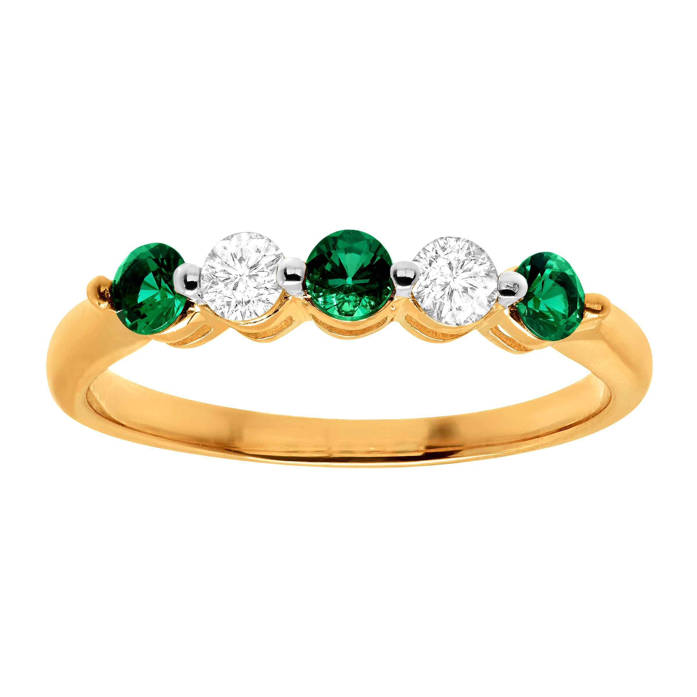 shiny gold emerald and nature ring diamond nr home product