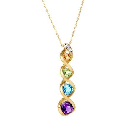 1 34 ct multi stone journey pendant with diamond in 10k gold 1 3 1 34 ct multi stone pendant aloadofball Images