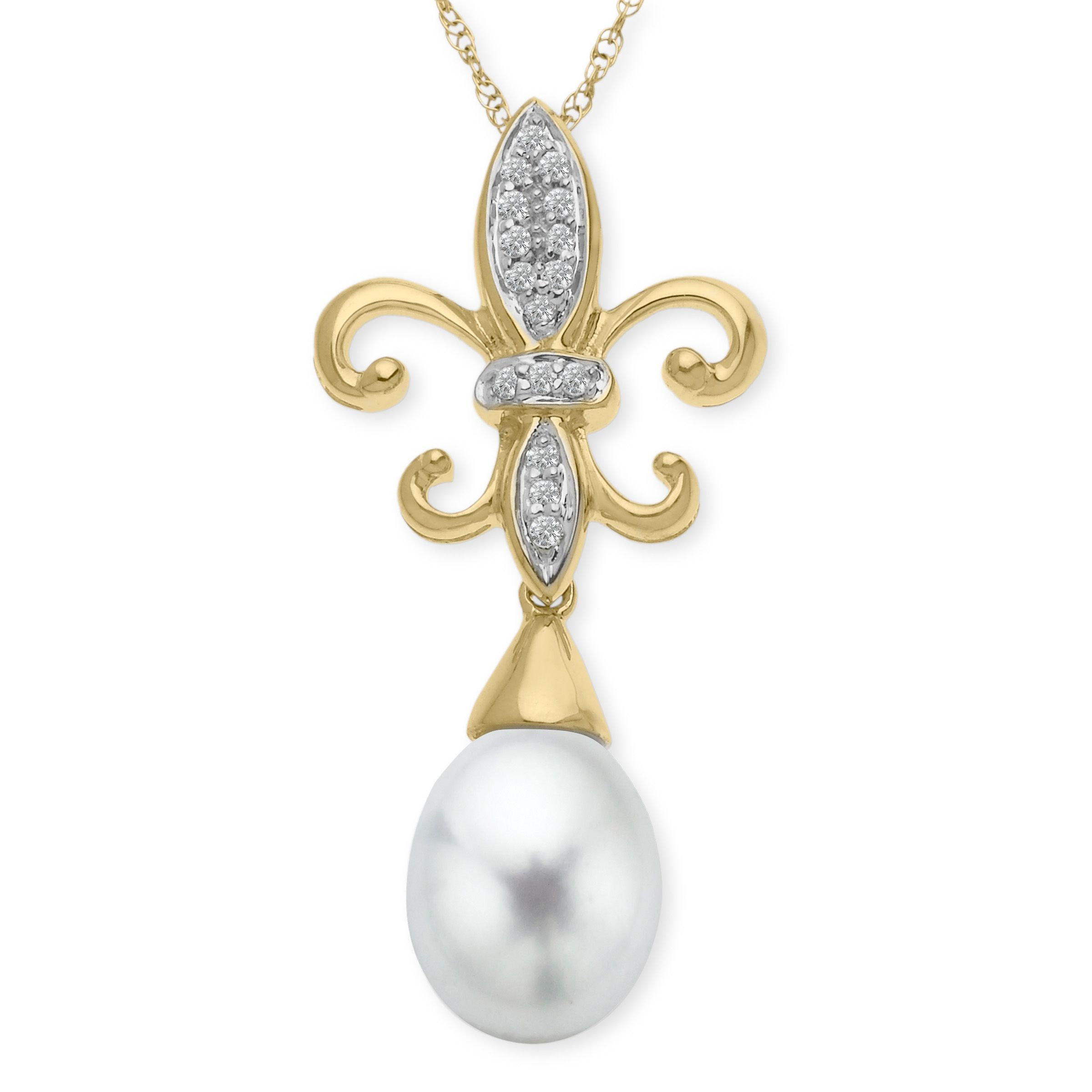 Freshwater Pearl Fleur-De-Lis Pendant Necklace with Diamonds in 10K Gold Commence your reign of style in this regal pendant! A glossy 10x8 mm freshwater pearl drops from a fleur-de-lis lined with diamond accents and crafted in 10K gold. Piece measures 1 1/4 by 1/2 inches. Comes with a 10K gold 18-inch rope chain.