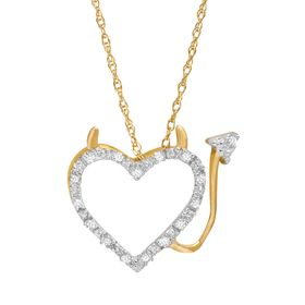 Devil Heart Pendant with Diamonds