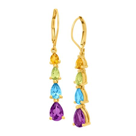 3 ct Multi-Stone Drop Earrings