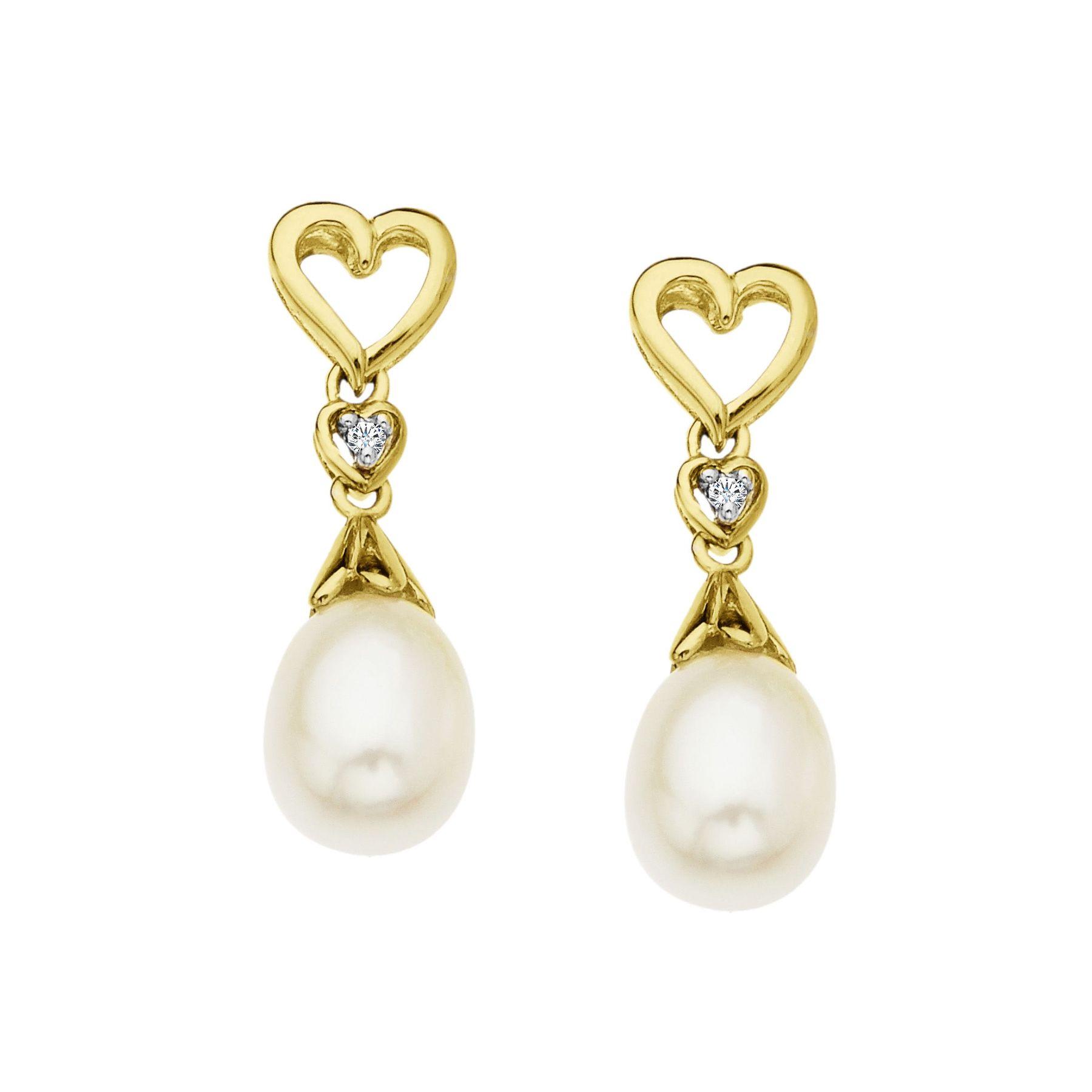 Pearl Heart Drop Earrings