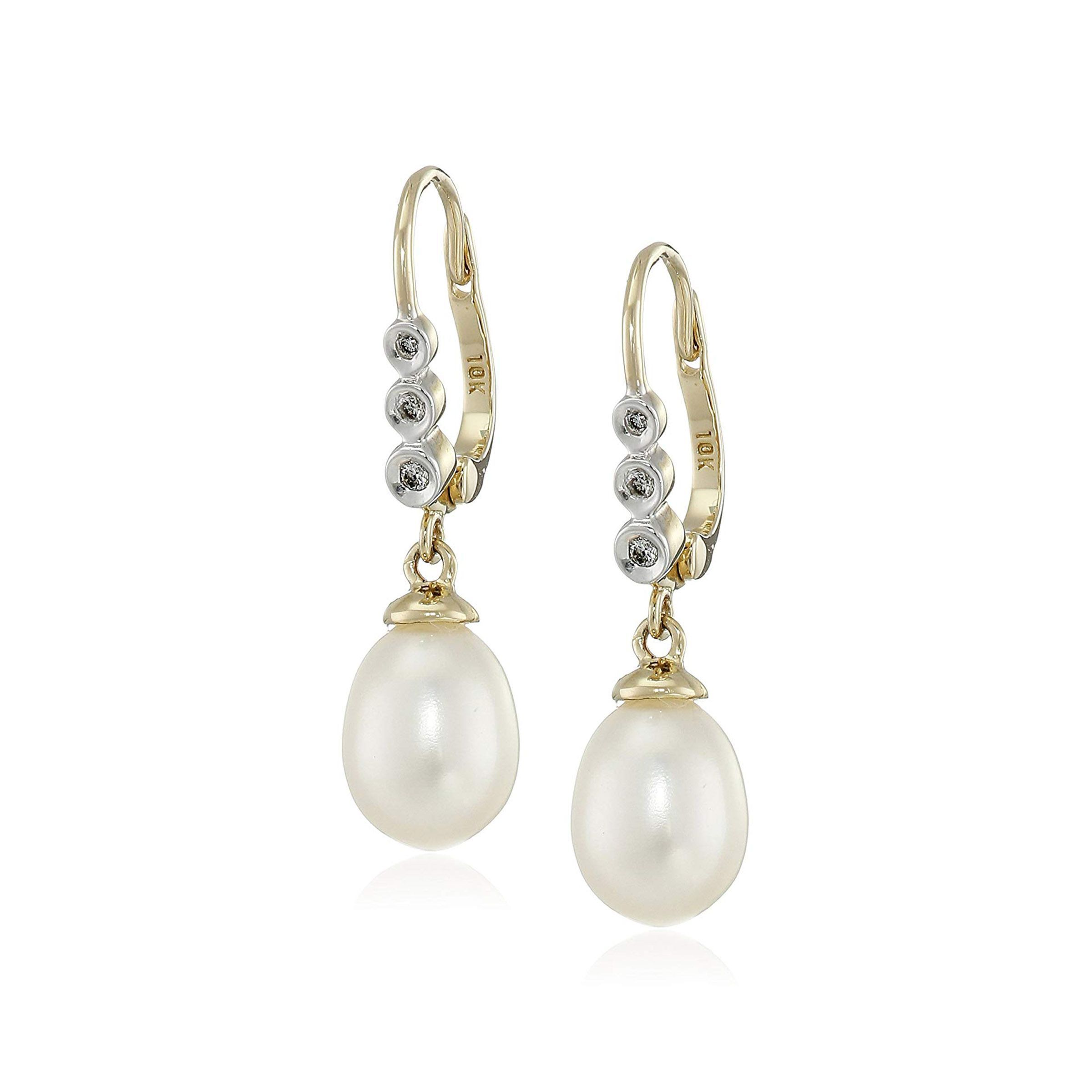 Freshwater Pearl Baroque Drop Earrings with Diamonds in 10K Gold