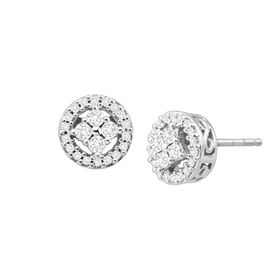 1/4 ct Diamond Halo Tile Earrings