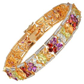 13 ct Multi Semi-Precious Stone Bracelet with Diamonds