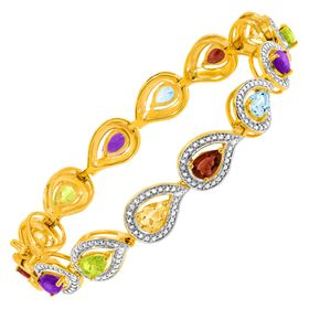 4 7/8 ct Multi Semi-Precious Stone Bracelet with Diamonds