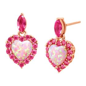 2 ct Opal & Pink Sapphire Heart Drop Earrings