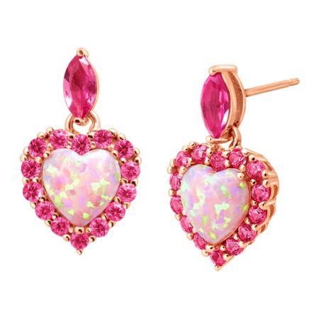 2 Ct Opal Pink Shire Heart Drop Earrings