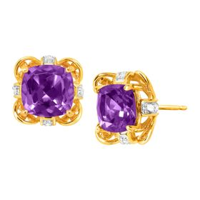 2 3/8 ct Amethyst Stud Earrings with Diamonds