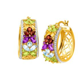 3 1/10 ct Multi-Gem Hoop Earrings