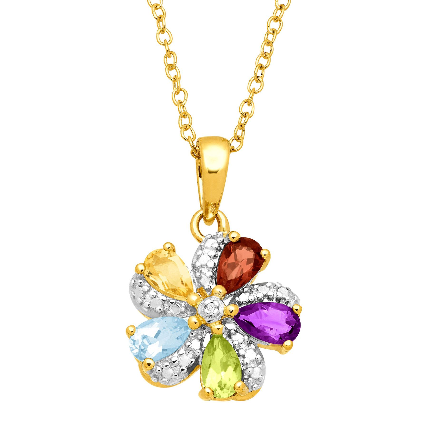 pendant gold in flower peridot ctw necklace white star